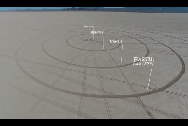 Filmmakers Wylie OverstreetandAlex Gorosh created a scale model of the solar system in Nevada's Black Rock Desert. To Scale:/YouTube video screenshot