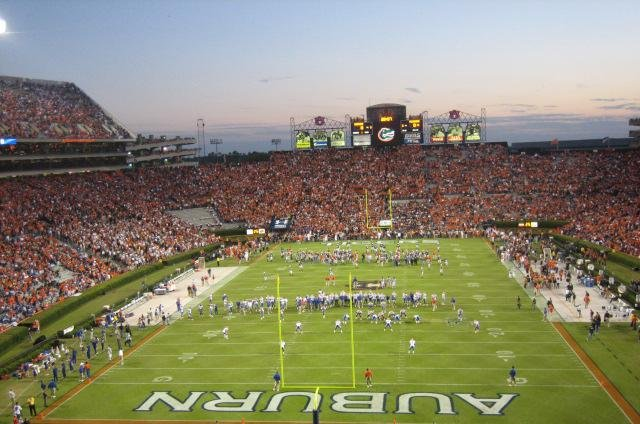 View of Jordan–Hare Stadium, home of Auburn University's football team, in Auburn, Alabama. The Auburn Tigers will take on the Oklahoma Sooners on January 2, 2017, in the Allstate Sugar Bowl. Photo courtesy Fds527/Wikimedia
