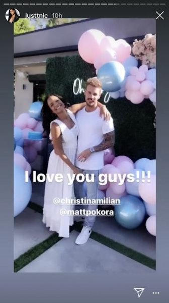 Christina Milian and her boyfriend, Matt Pokora, announced their unborn baby's sex at a party with family and friends Sunday. Screenshot via justtnic/Instagram Stories