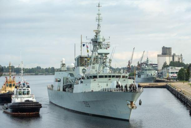 The frigate HMCS Toronto of the Royal Canadian Navy arrived in Riga, Latvia, after conducting Baltic Sea exercises with Standing NATO Maritime Group 1. Photo courtesy of Latvian Defense Ministry