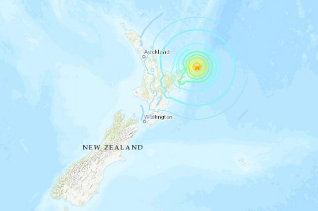 The quake produced a tsunami warning spanning much of New Zealand's North Island. Image courtesy U.S. Geological Survey
