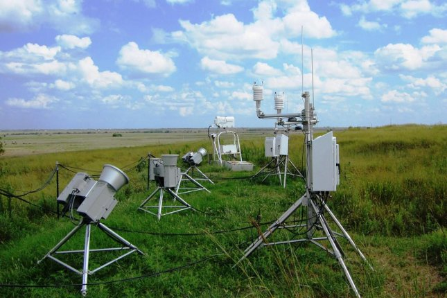 Radiometers are among the many instruments at ARM's Southern Great Plains observatory used by scientists to measure the greenhouse gas effect. Photo by the U.S. Department of Energy Atmospheric Radiation Measurement Climate Research Facility