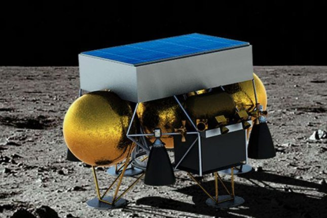A conceptual drawing shows Masten Space Systems' Masten XL-1 lunar lander on the moon's surface. Image courtesy of Masten Space Systems