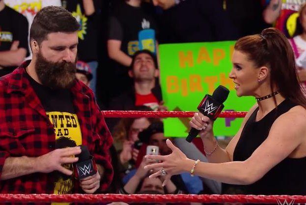 Raw commissioner Stephanie McMahon fires general manager Mick Foley Monday following the hardcore legend's actions from last week. Photo courtesy of WWE/YouTube