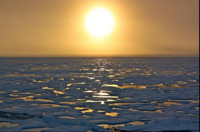 The sun shines down on the Chukchi Sea's ice, as seen from the U.S. Coast Guard Cutter Healy in 2011. Photo courtesy of Kathryn Hansen/NASA