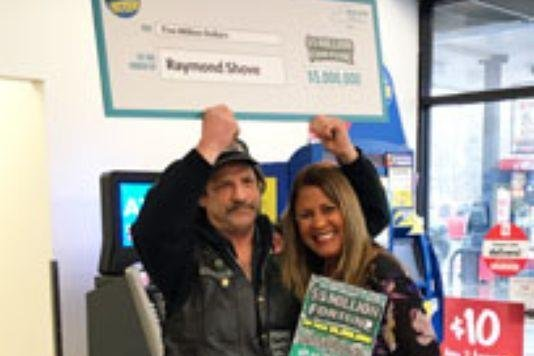 Raymond Shove said he won a $5 million lottery jackpot thanks to a search for a cup of coffee. Photo courtesy of the New York Lottery