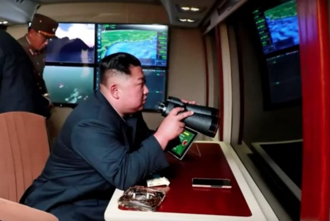 North Korea released an image on Thursday of leader Kim Jong Un guiding a weapons test. Photo screenshot of KCTV