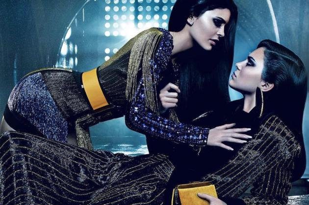 Kendall and Kylie Jenner pose for Balmain Fall/Winter 2015 campaign, shot by Mario Sorrenti. Photo courtesy of balmainparis/Instagram.