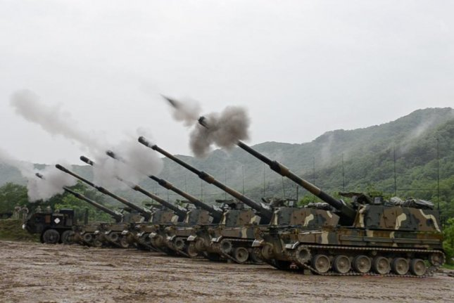 Finland is in talks with South Korea to purchase used K9 Thunder 155mm armored howitzers, Finland's Ministry of Defense announced Friday. The K9 Thunders are shown here firing off during an exercise in May. U.S. Army photo by Pfc. Dasol Choi