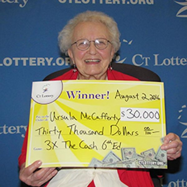 Ursula McCafferty, a 95-year-old Connecticut grandmother of 12 plans to use a portion of her $30,000 lottery winnings to buy a decent cellphone. McCafferty will also give some of the money to her children, but would like a phone that can check the weather and display pictures well. Photo courtesy of CT lottery