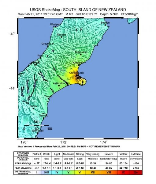The intensity of the quake, courtesy of the U.S. Geological Survey.