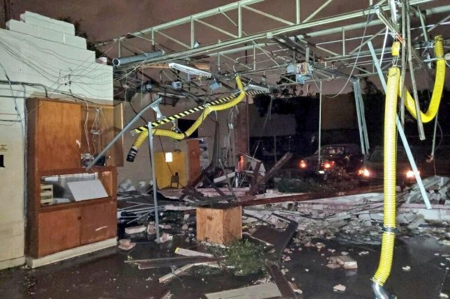 Tornado damage is seen at a fire station in Dallas. File Photo by Dallas Fire-Rescue/Twitter