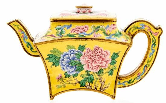 A teapot found by a British man while cleaning out a relative's garage turned out to be an 18th century Chinese wine ewer that sold for nearly $500,000 at auction. Photo courtesy of Hansons Auctioneers