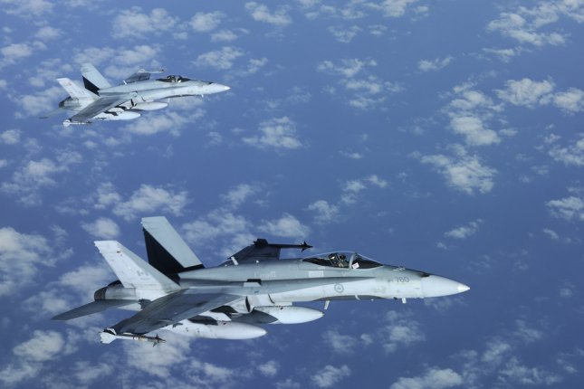 The Canadian CF-188 Hornet from 425 Tactical Squadron Bagotville fighter. (UPI/NATO/DND Canada)
