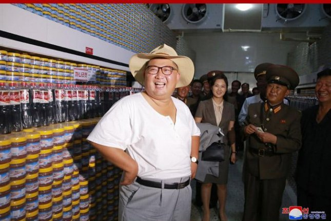 Kim Jong Un visits a fish pickling factory in Kumsanpo, South Hwanghae Province, North Korea, the North Korea's official Korean Central News Agency said on Wednesday. Photo by KCNA