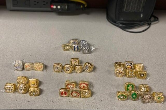 The phony championship rings were found in a package from China headed for Chicago, authorities said. Photo courtesy CBP