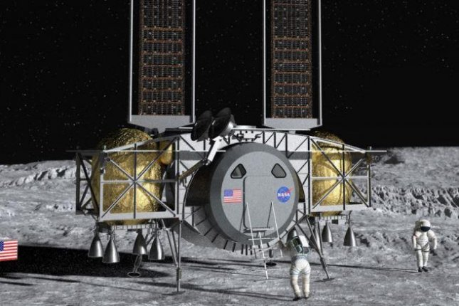 The Dynetics human lander is shown on the moon in a conceptual drawing that portrays its horizontal, barrel-shaped capsule near the surface. Image courtesy of Dynetics