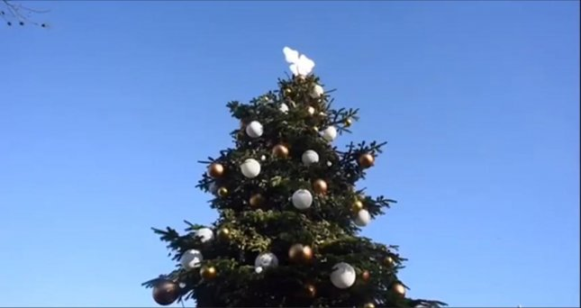 This 27-foot-tall Christmas tree in London is topped with a hop instead of a star and dispenses Carlsberg beer. Newsflare video screenshot