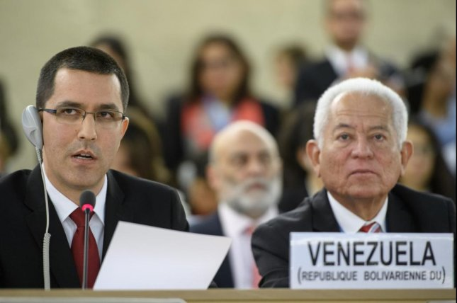 Venezuela's foreign minister, Jorge Arreaza, on the left, addressed the 36th session of the United Nations' human rights council in Geneva, Switzerland, on Monday, Sept. 11. Photo by Laurent Gillieron