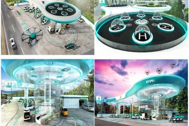 This concept image shows GS Caltex's logistics based on the company's gas station for drone delivery services. Image courtesy of GS Caltex