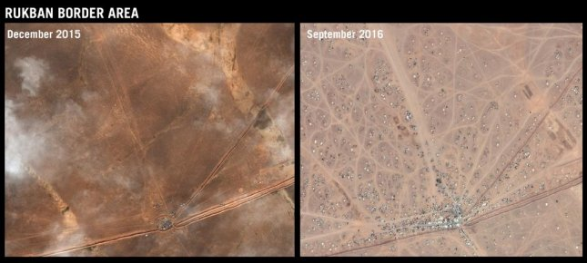 A satellite image shows the growth at the Rukban border site along the northeast border between Syria and Jordan. The desert site, known as the berm, is home to 75,000 Syrian refugees who have been denied entry to Jordan while fleeing the civil war in their home country. Image courtesy of Amnesty International