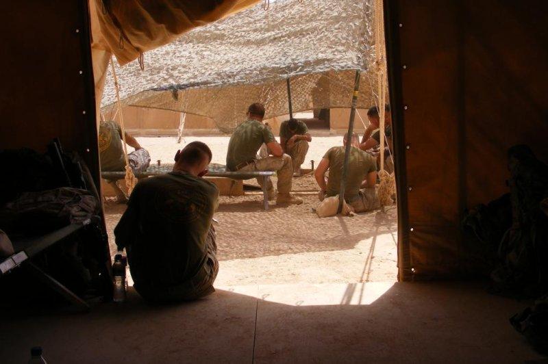U.S. Marines at Forward Operating Base Delhi in June 2009. Photo by James LaPorta/UPI