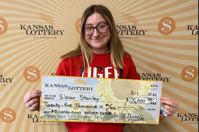 Sloan Stanley won $25,000 from her first-ever lottery ticket, which she bought just four days after turning 18. Photo courtesy of the Kansas Lottery