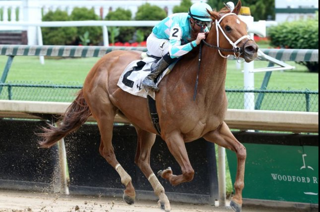 Monomoy Girl, shown winning her comeback from a long layoff last May, is the favorite for Saturday's $1 million Apple Blossom at Oaklawn Park. Photo courtesy of Churchill Downs