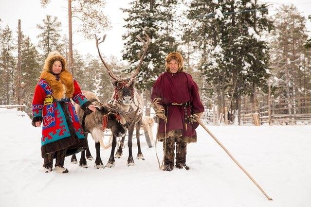 Reindeer herders near Numto Lake in western Siberia. Russia's recent decision to redraw park boundaries to allow oil development in the area has prompted protests from indigenous people. Photo by Alexey Andronov/Greenpeace