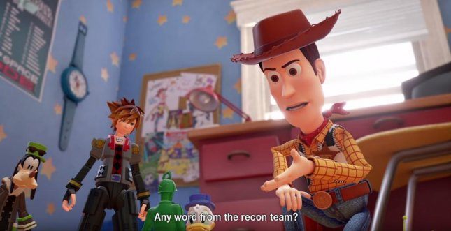 Sora, Donald and Goofy meeting with Woody from Toy Story in the newest trailer for Kingdom Hearts 3. Photo courtesy of Square Enix/YouTube