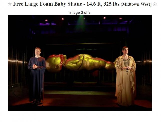 An Off-Broadway theater is offering an unusual prop -- a massive baby statue -- for free on Craigslist. Photo by Playwrights Horizons/Craigslist