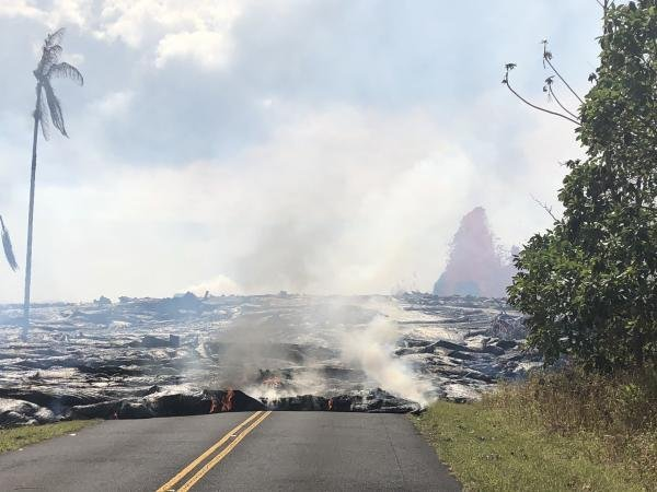 Lava from Fissure 8 of Hawaii's Kilauea volcano crossed Pohoiki road on Tuesday morning and officials announced that fast-moving lava shut down Highway 132. Photo courtesy U.S. Geological Survey