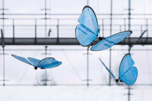 The winged robot butterflies are maneuvered by a series of cameras and an external processing unit. Photo by Festo