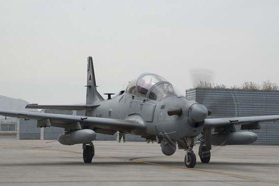 An A-29 Super Tucano of the Afghan Air Force crashed on Thursday in northeastern Afghanistan, with its U.S. Air Force pilot safely ejecting. Photo by SSgt. Jared Duhon/U.S. Air Force