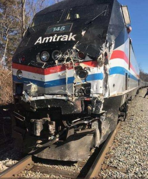 An Amtrak train carrying Republican members of Congress Wednesday to a retreat hit a garbage truck near Charlottesville, Va., lawmakers on the train said. Officials said the driver of the truck died. Photo courtesy Rep. Jeff Denham/Twitter