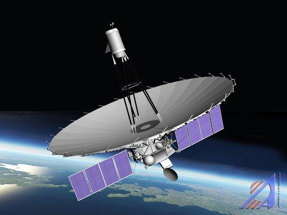 An artist's rendition of the Spektr-R radio astronomy satellite in orbit. Credit: NPO Lavochkin