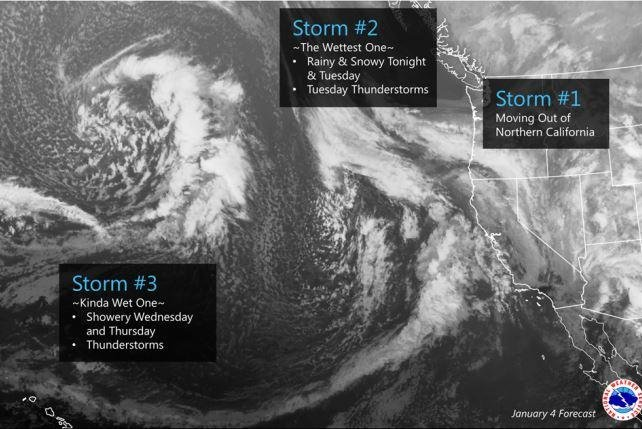A forecast map by the National Weather Service illustrates multiple storms expected to sweep in from the Pacific Ocean between Tuesday and Thursday as part of an El Nino weather pattern, which the NOAA said has tied the strongest on record in 1997-98. Image courtesy of National Weather Service/NOAA