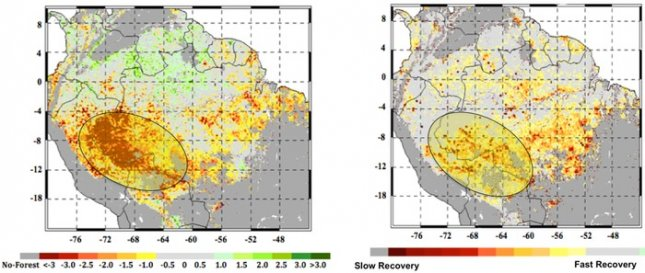 At left, the extent of the 2005 megadrought in the western Amazon rainforests as measured by NASA satellites. The most impacted areas are shown in shades of red and yellow. The circled area in the right panel shows the extent of the forests that experienced slow recovery from the 2005 drought. Credit: NASA/JPL-Caltech/GSFC