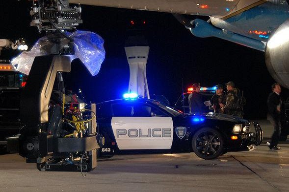 A Saleen S281 police car serving as stand-in for the alternate mode of the Decepticon character Barricade during filming of 2007 film Transformers. (1st Lt. Brad Kimberly, USAF)