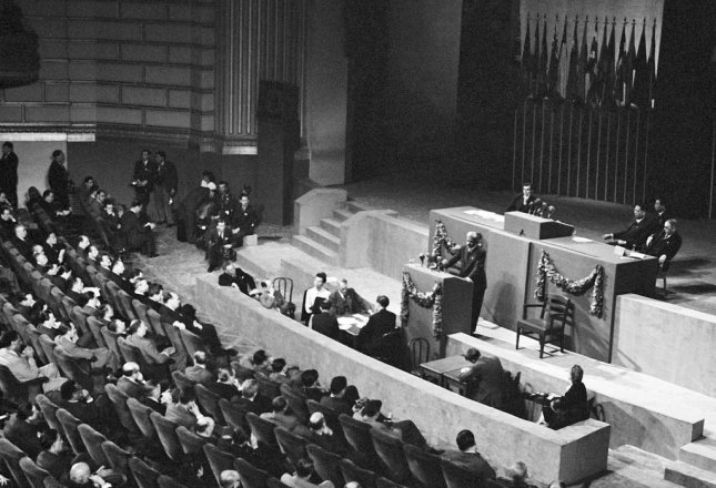 Third Plenary Session at the San Francisco Conference. On April 25, 1945, delegates of 46 countries gathered in San Francisco to organize a permanent United Nations. Photo courtesy the United Nations
