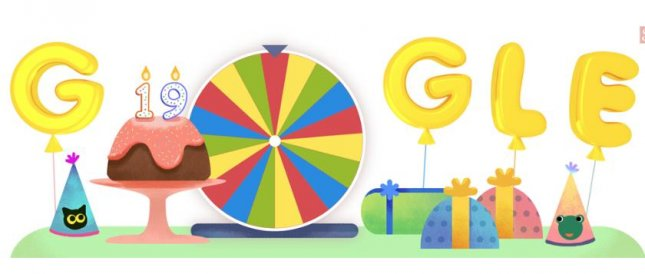 Google has turned 19 years old and has treated fans to a new Doodle that is full of games and other surprises. Image courtesy of Google.