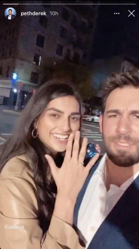 Derek Peth proposed to his girlfriend, model Saffron Vadher. Screenshot via pethderek/Instagram Stories