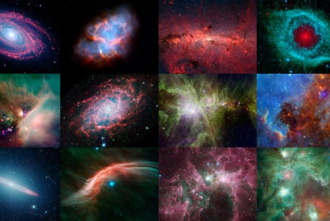 An array of infrared images captured by Spitzer Space Telescope. Photo by NASA/JPL-Caltech