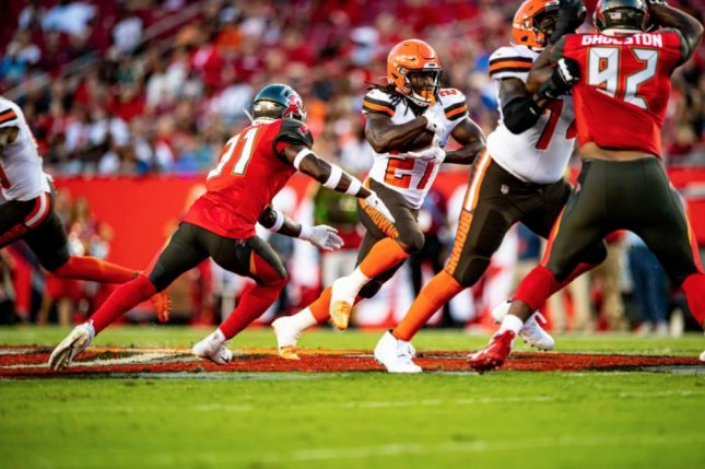 The Cleveland Browns signed former Kansas City Chiefs running back Kareem Hunt (27) in February. Photo courtesy of the Cleveland Browns/Matt Starkey