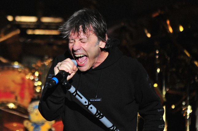 Iron Maiden vocalist Bruce Dickinson. The band has announced a 2019 North American tour with special guest The Raven Age. Photo courtesy of Stringer/EPA