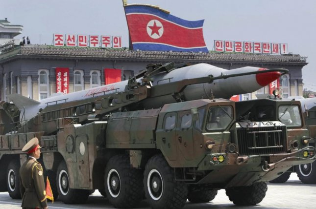 A North Korean mid-range Musudan missile on display during a military parade in Pyongyang. Another mid-range missile, the Rodong, has increased in accuracy, a South Korean government source said on Friday.