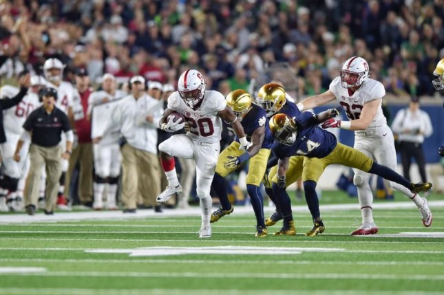 Stanford running back Bryce Love (20), the runner-up in last season's Heisman Trophy voting, will not suit up for the ninth-ranked Cardinal in Saturday's game against UC Davis, head coach David Shaw said Tuesday. Photo courtesy of Stanford Cardinal Football/Twitter