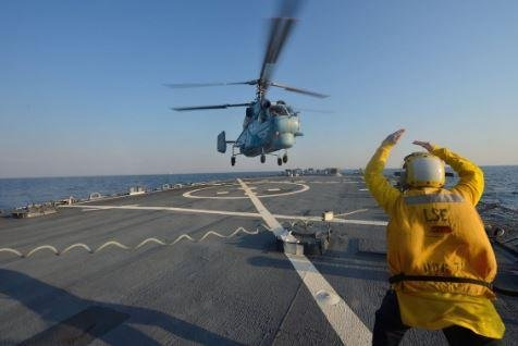 A helicopter of the Ukrainian Navy lands aboard the USS Ross during last year's Sea Breeze naval exercises. Sea Breeze 2019, a 12-day,19-nation training drill, begins in Ukraine on Monday. Photo courtesy of Exercise Sea Breeze/Twitter