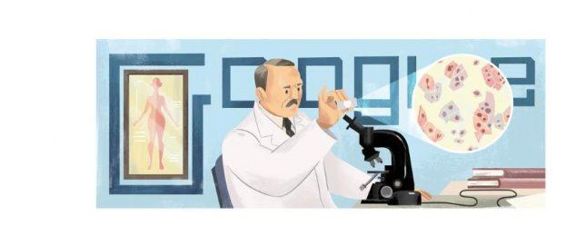 Google is paying homage to Pap smear creator Georgios Papanikolaou with a new Doodle. Image courtesy of Google