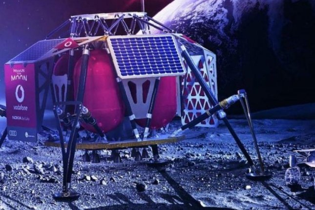 This is an artist's conception of a lunar lander operated by Vodafone and Nokia that would bring 4G cellular communications and robotic rovers to the moon. Image courtesy of Vodafone
